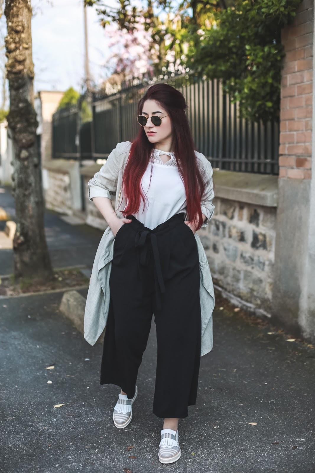 pantalon taille haute oversize