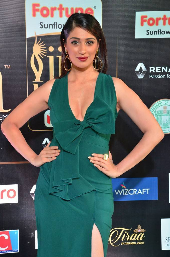 Raai Laxmi Stills At IIFA Utsavam Awards 2017 In Green Dress
