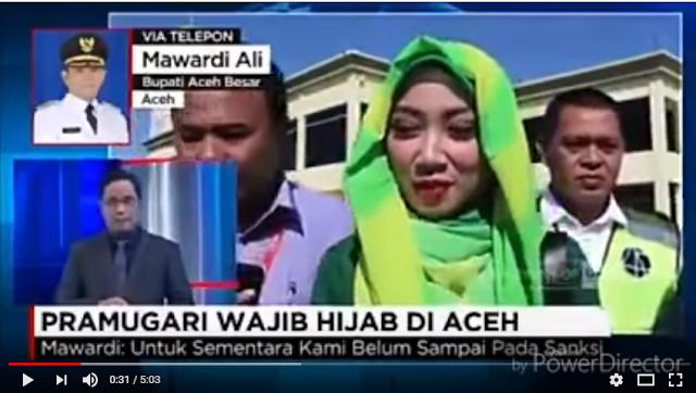 """Tidak Paham Hukum Islam, Reporter TV ini """"Ngeyel"""" dengan Bupati Aceh Besar Soal Kewajiban Hijab Pramugari"""