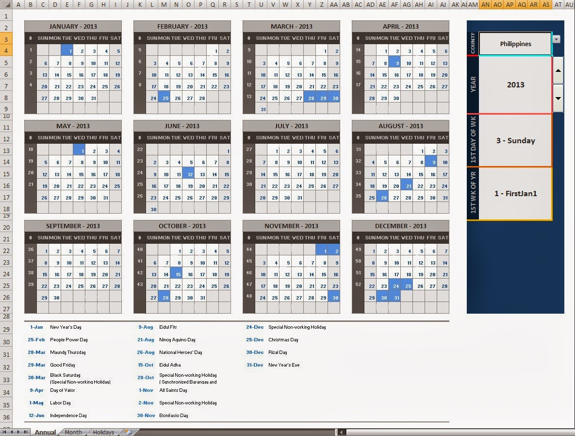 The Ultimate Annual Monthly Microsoft Excel Calendar Template