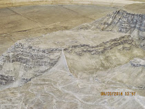 Model of Masada Plateau, with Roman ramp located center mid photo (Israel)
