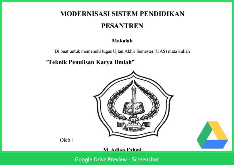 Contoh Makalah Agama Tentang Modernisasi Sistem Pendidikan Pesantren
