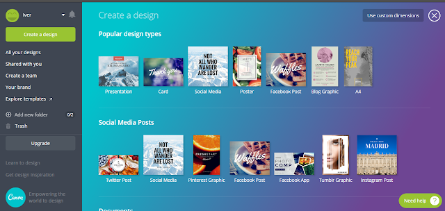 Canva-creating a design.