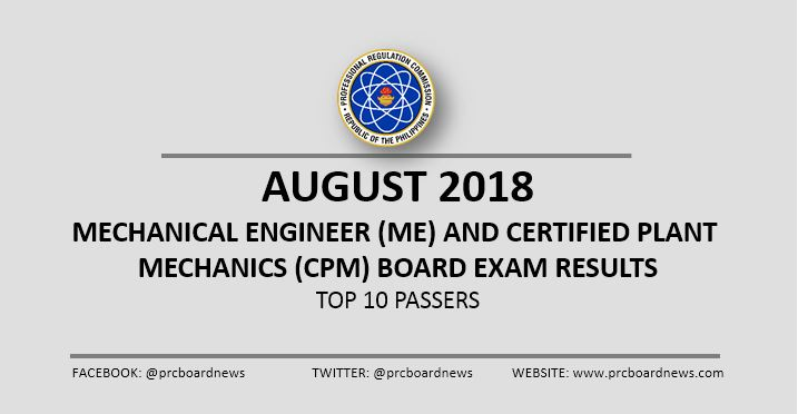 August 2018 Mechanical Engineer ME, CPM board exam top 10