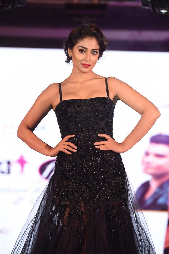 Model Shriya Saran In Black Dress At Fashion Show