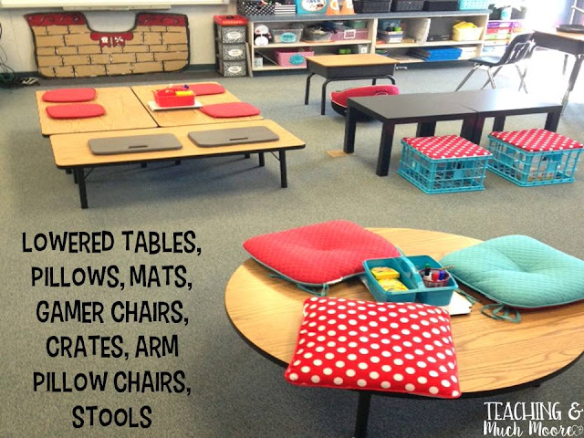 pictures from my flexible seating classroom, lowered tables, standing tables, hooki stools and yoga balls.