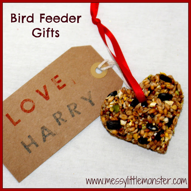 homemade gift that kids can make - easy diy bird feeders