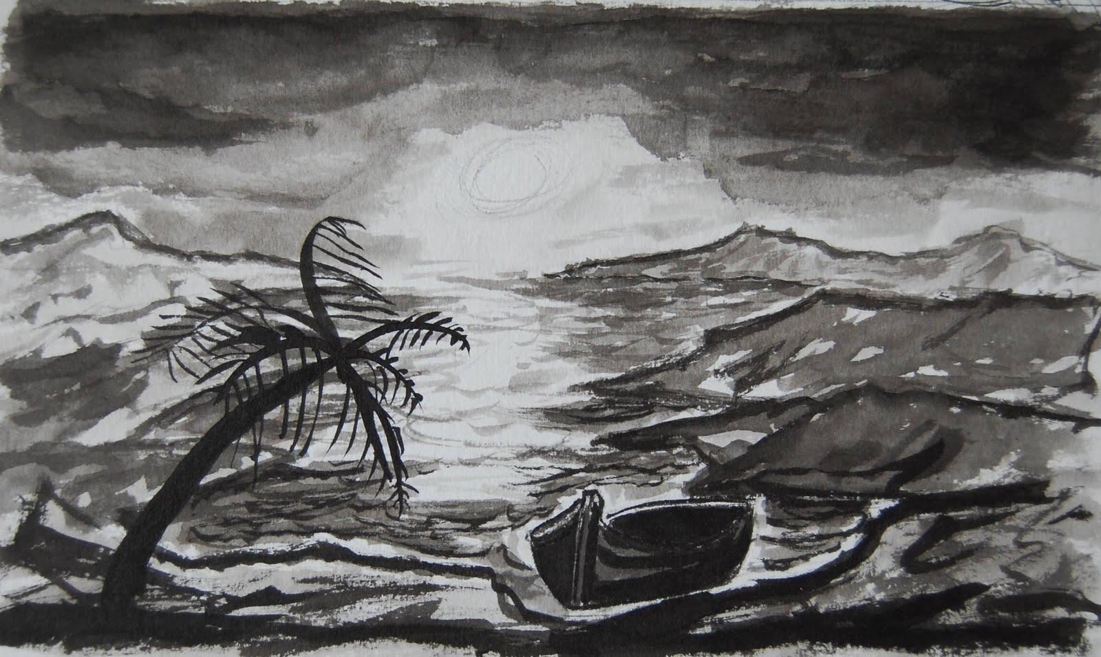 Dibujo Acuarela Oleo ...: Atardecer En La Playa