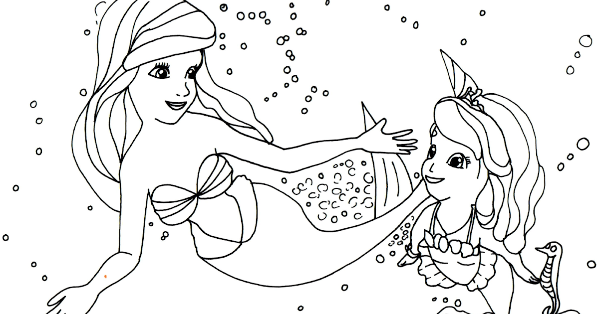 Sofia The First Coloring Pages: Princess Ariel and Sofia ...