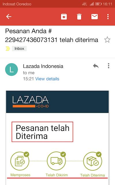 email dari lazada yang memberitahukan barang telah sampai