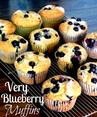 Very Blueberry Muffins are packed with berries and finished with a sprinkle of sugar for a crunchy, sweet top.   These tender, moist blueberry muffins are perfect for breakfast or an afternoon snack