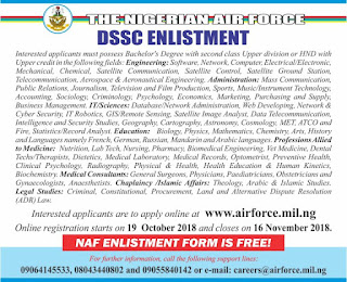2018 Nigerian Air Force DSSC Recruitment Form Is Out – See How To Apply Here