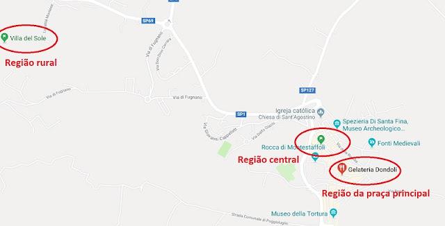 Mapa das regiões de San Gimignano
