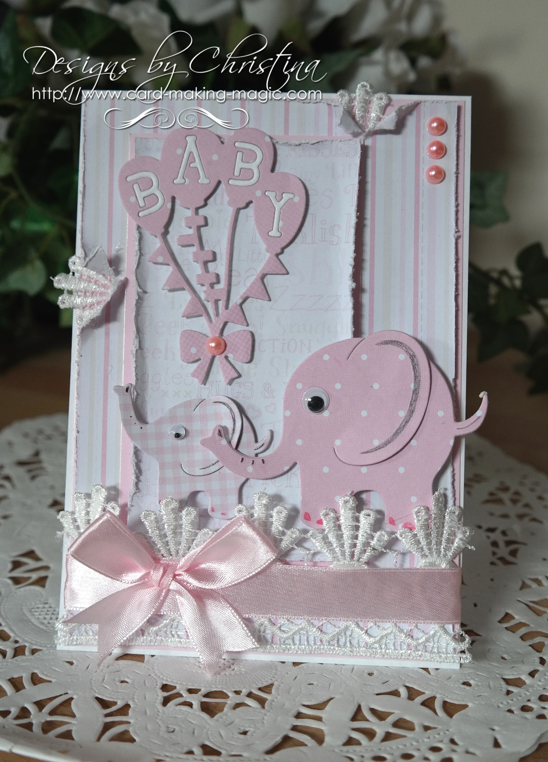 flowers ribbons and pearls baby cards with tonicgold