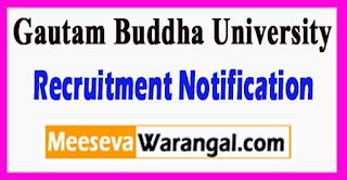 GBU Gautam Buddha University Recruitment Notification 2017 Last Date 01-06-2017