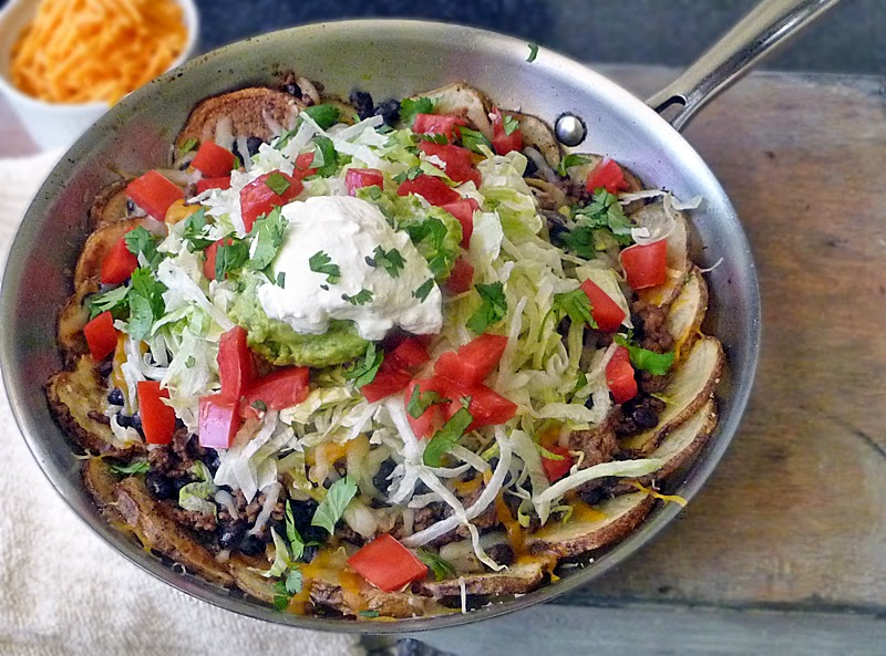 Mexican Potato Nachos | by Life Tastes Good | Loaded Nachos made with potatoes instead of chips! #appetizer #Cincodemayo