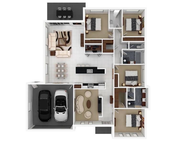 Denah Rumah Sederhana 4 Kamar Tidur dengan Garasi