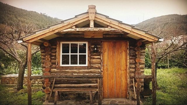 Cabana de troncos que construí em 2014