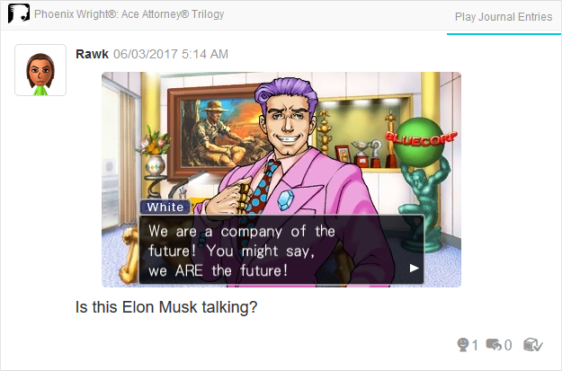 Redd White Bluecorp Elon Musk Phoenix Wright Ace Attorney Trilogy 3DS Miiverse Capcom Nintendo