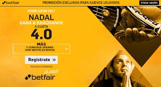 betfair supercuota Nadal gana Khachanov wimbledon 7 julio