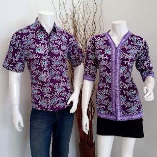 seragam batik blouse mega mendung ungu