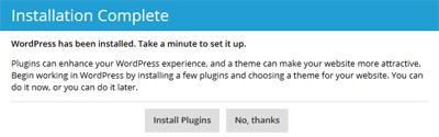 WordPress Installation Complete