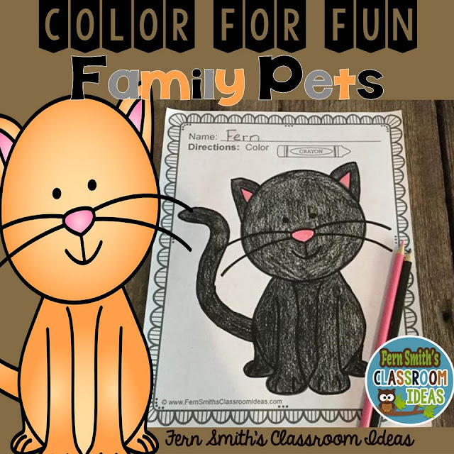FREE Cat Color For Fun coloring pages #FernSmithsClassroomIdeas