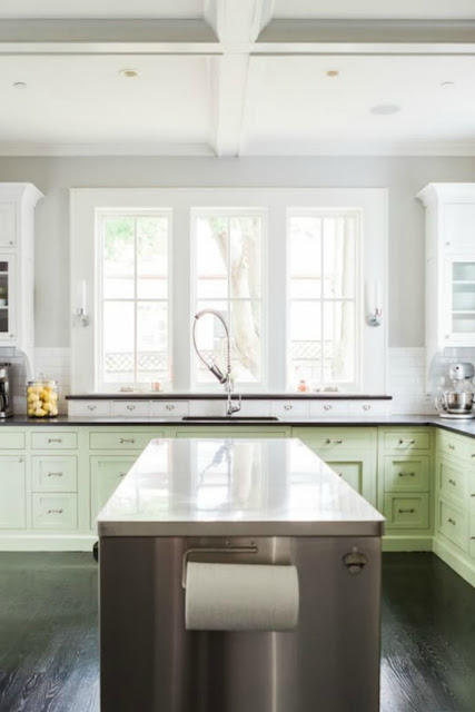 Modern farmhouse kitchen with Shaker style cabinetry on Hello Lovely Studio