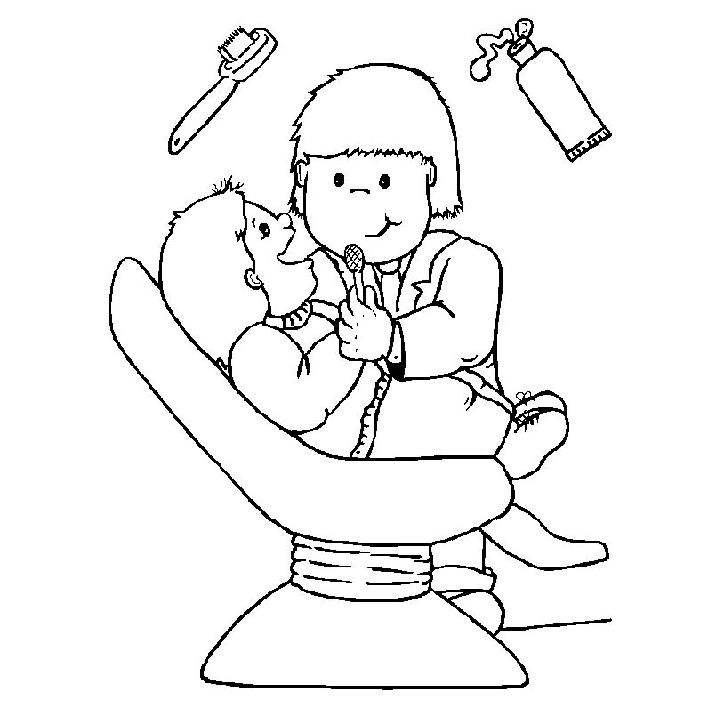 Coloring Page For Kids About Dental Hygiene. Cute Kawaii Cartoon ... | 814x814