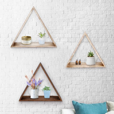 Using a Wooden Triangle Floating Wall Mount Shelves