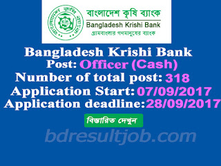 Bangladesh Krishi Bank (BKB) Officer (Cash) Job Circular 2017