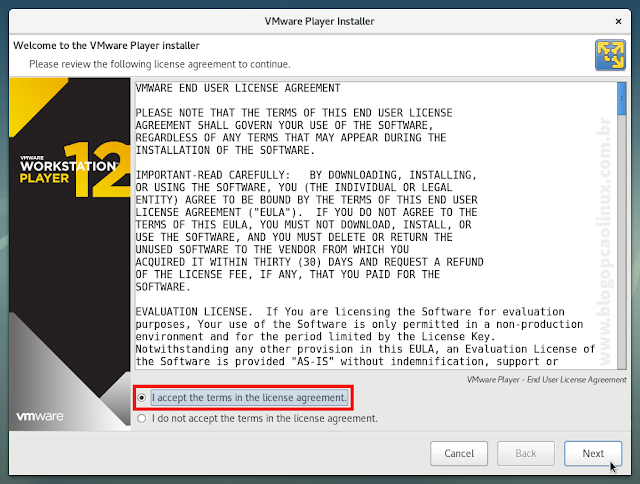 Contrato de Licença do VMware Workstation Player