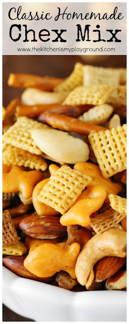 Classic Homemade Chex Mix ~ Nothing beats homemade taste! When that craving for a salty-crunchy snack hits, skip the grocery store aisle & whip up this classic yourself.  www.thekitchenismyplayground.com