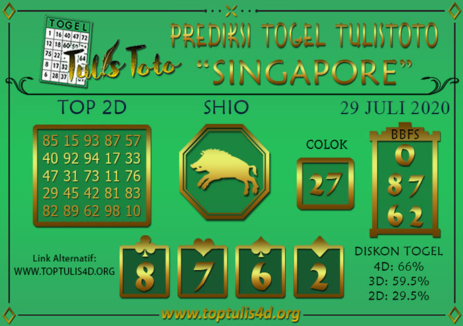 Prediksi Togel SINGAPORE TULISTOTO 29 JULI 2020