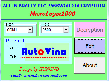 Đọc password PLC Allen Bradley MicroLogix 1000, crack password PLC Allen Bradley MicroLogix 1000
