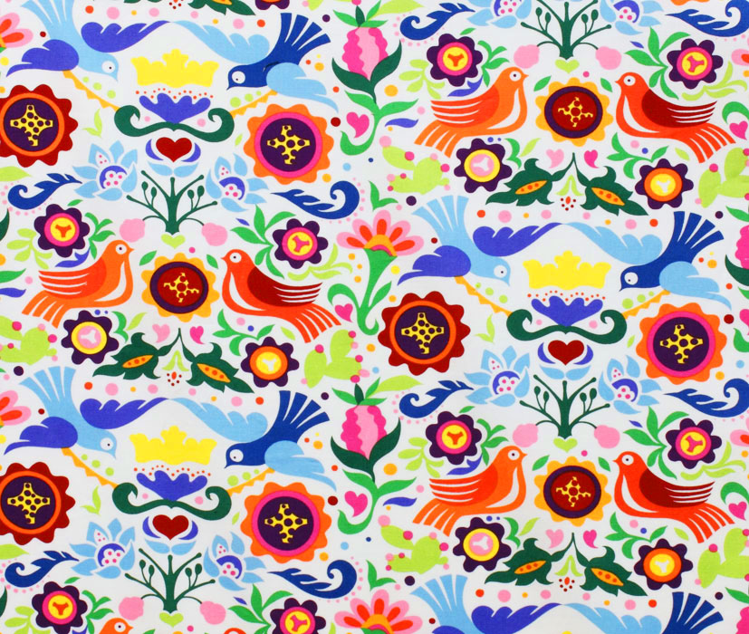 Folklorico Laminated Cotton Fabric Brilliant