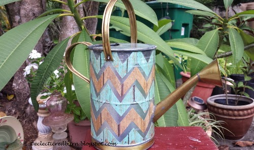 Eclectic Red Barn: Watering Can Mod Podge with of chevron paper