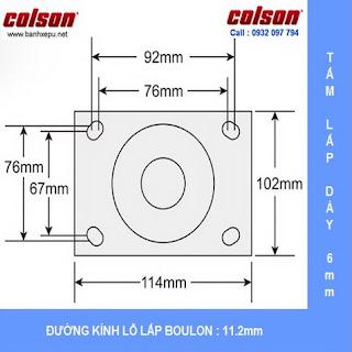 kích thước mặt bích bánh xe PU lõi gang thép càng xoay có thắng Colson