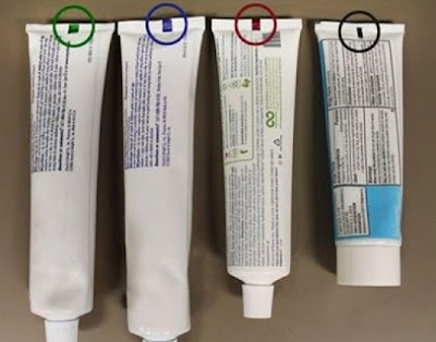 color coding on toothpaste, lines on toothpaste,