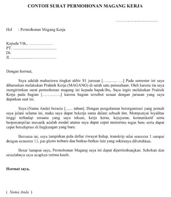 Contoh Surat Permohonan Magang Kerja yang Resmi Baik dan Benar Format Word