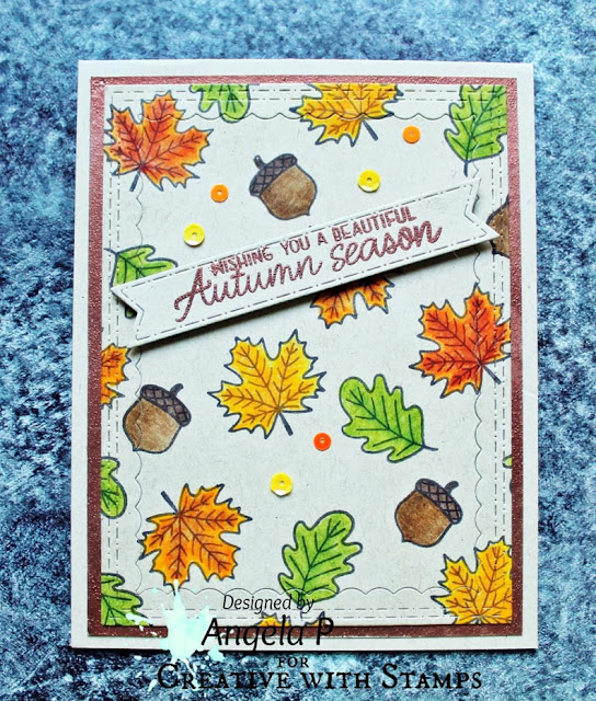 Sunny Studio Stamps: Beautiful Autumn Autumn Themed Customer Card by Angela Pahl