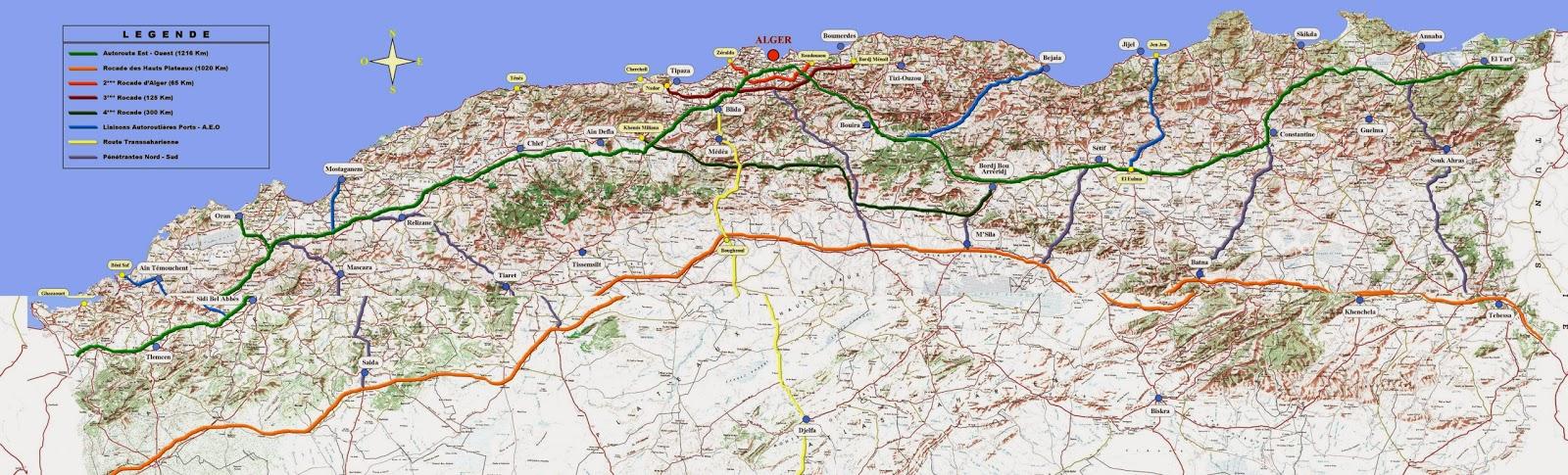 Carte Algerie Autoroute Est Ouest.Topographie L Autoroute Est Ouest Algerie