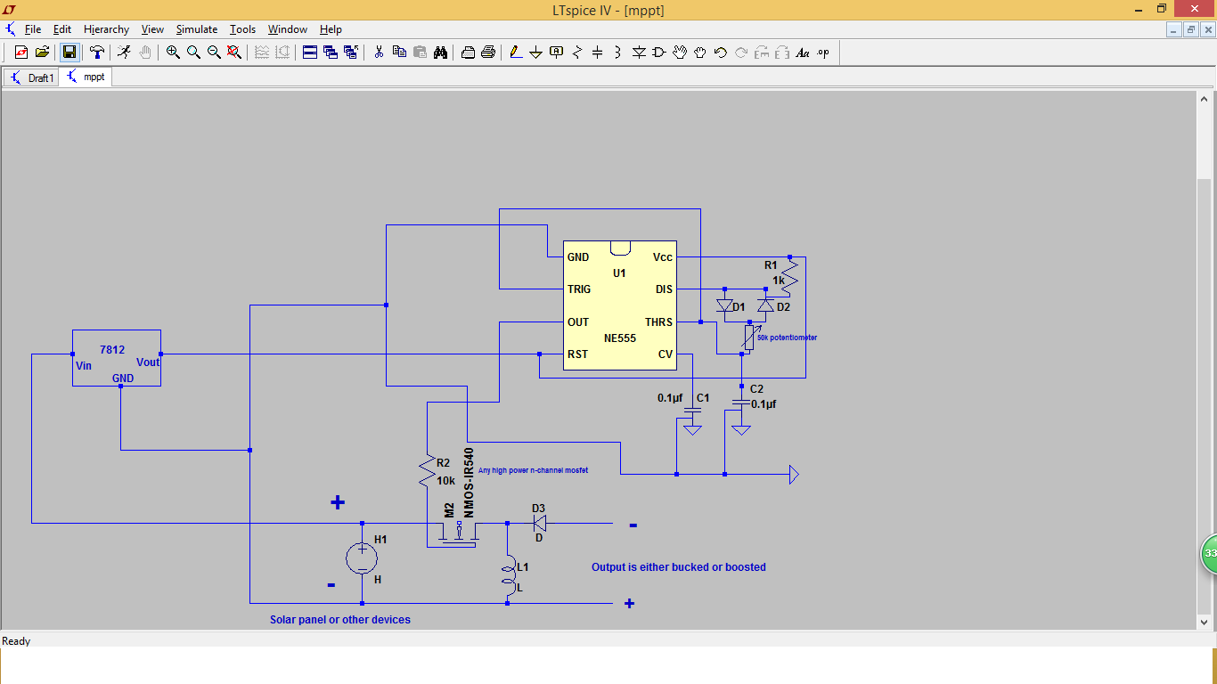 555 Timer Projects: Solar buck converter using Ne555 timer