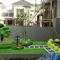 desain taman minimalis mengunakan lampu taman