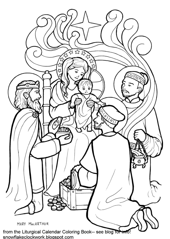 Snowflake Clockwork: Epiphany coloring page