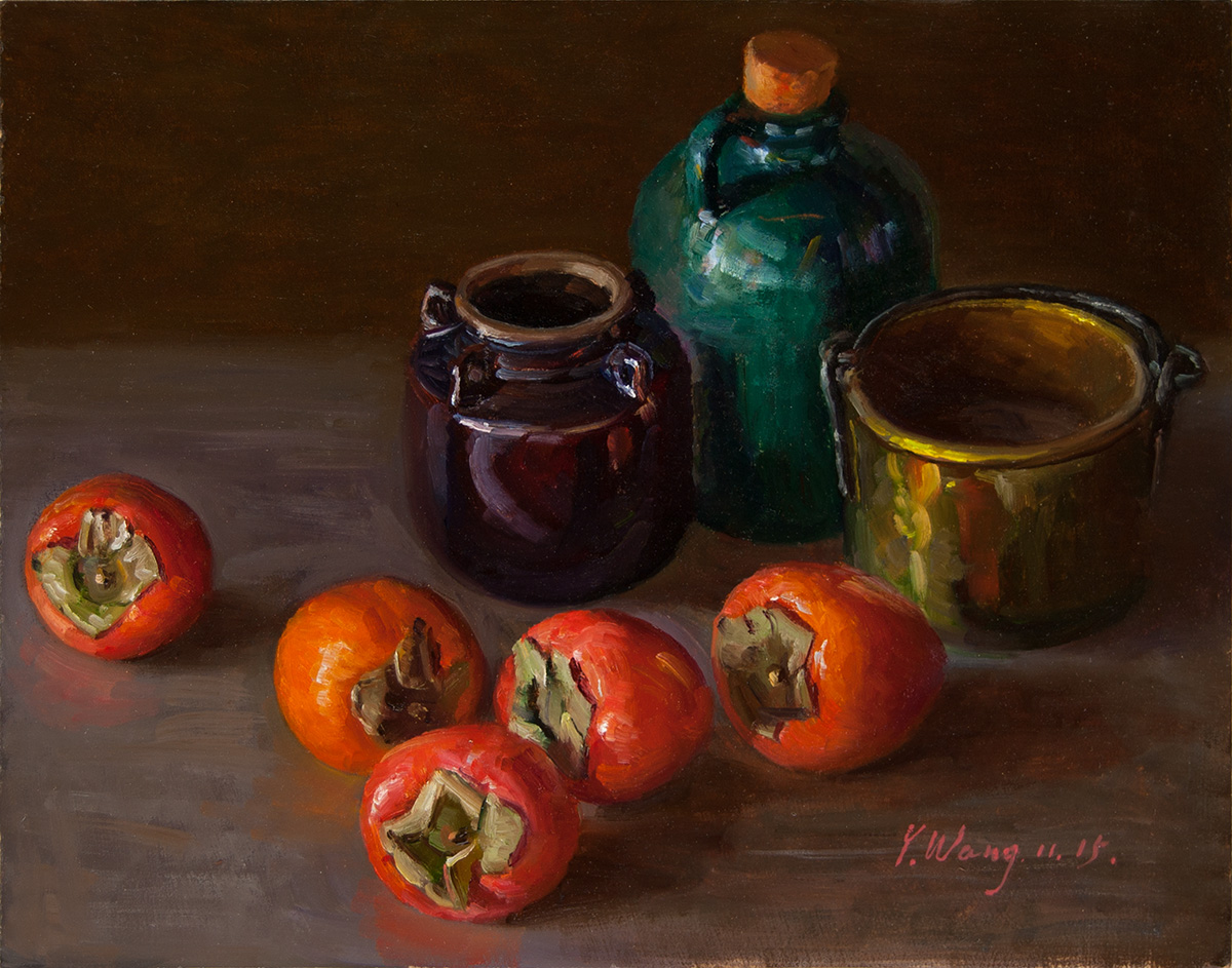 Wang Fine Art Still Life With Persimmons Original Oil Painting