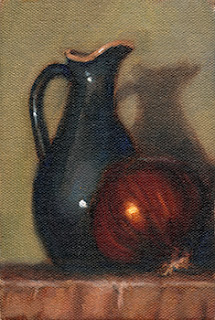 Oil painting of a blue porcelain sauce jug beside a red onion.