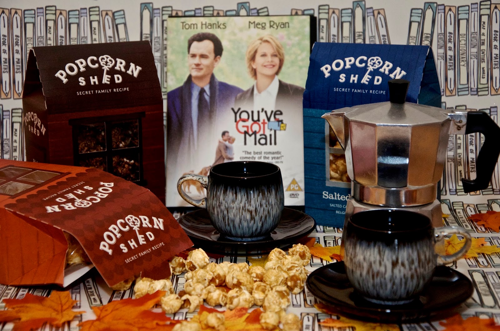 popcorn, cups and saucers, autumn leaves, coffee maker