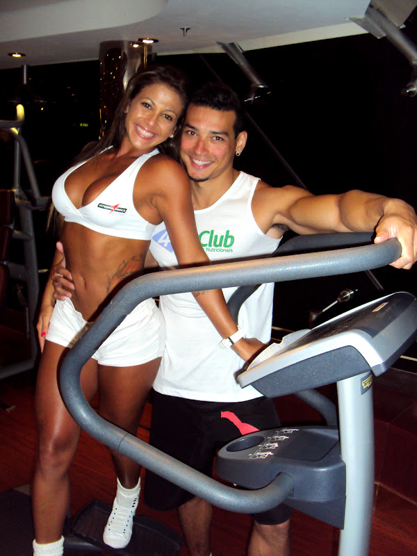 Sabrina Soares e Felipe Franco na academia do cruzeiro da MSC
