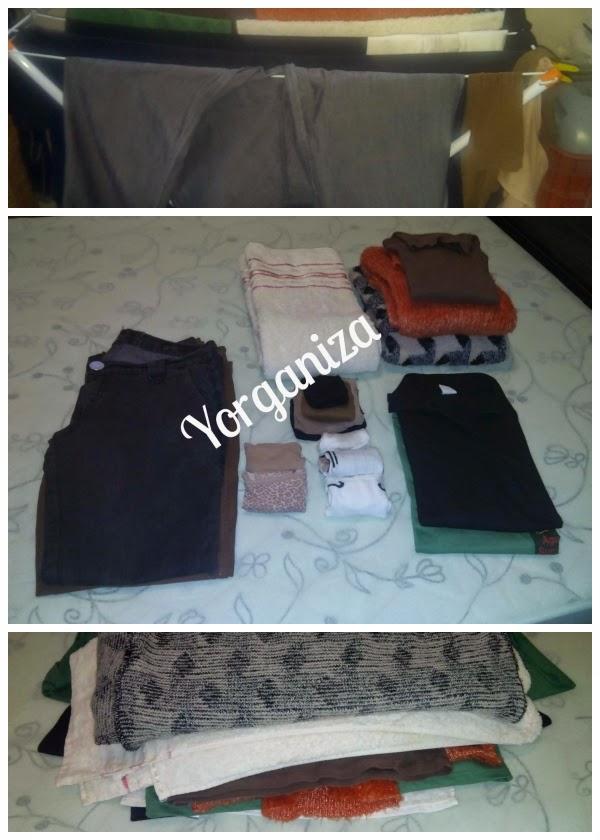 Sequência de roupas úmidas no varal, secas e dobradas